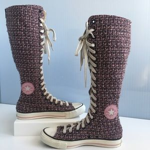 d54c13ca39350e CONVERSE - Pink Tweed Knee-High Zip-Up Sneakers
